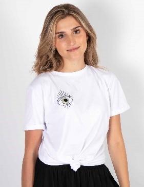 Camiseta serena blanco ojo verde